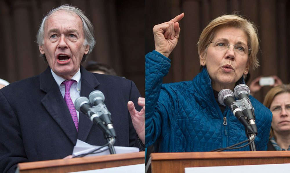 Sens. Ed Markey and Elizabeth Warren voted against advancing a three-week spending bill to end the partial federal government shutdown. (Jesse Costa/WBUR)