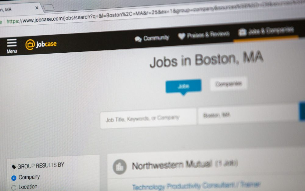 The Jobcase website (Jesse Costa/WBUR)