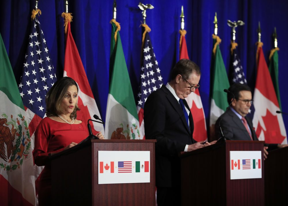 From left, Canadian Minister of Foreign Affairs Chrystia Freeland with United States Trade Representative Robert Lighthizer and Mexico's Secretary of Economy Ildefonso Guajardo Villarreal speaks during the conclusion of the fourth round of negotiations for a new North American Free Trade Agreement (NAFTA) in Washington, Tuesday, Oct. 17, 2017. (Manuel Balce Ceneta/AP)
