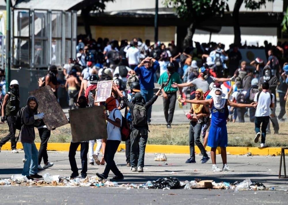 People protest the death of the insurgent Oscar Perez, in Caracas, Venezuela, on Jan. 22, 2018. (Juan Barreto/AFP/Getty Images)