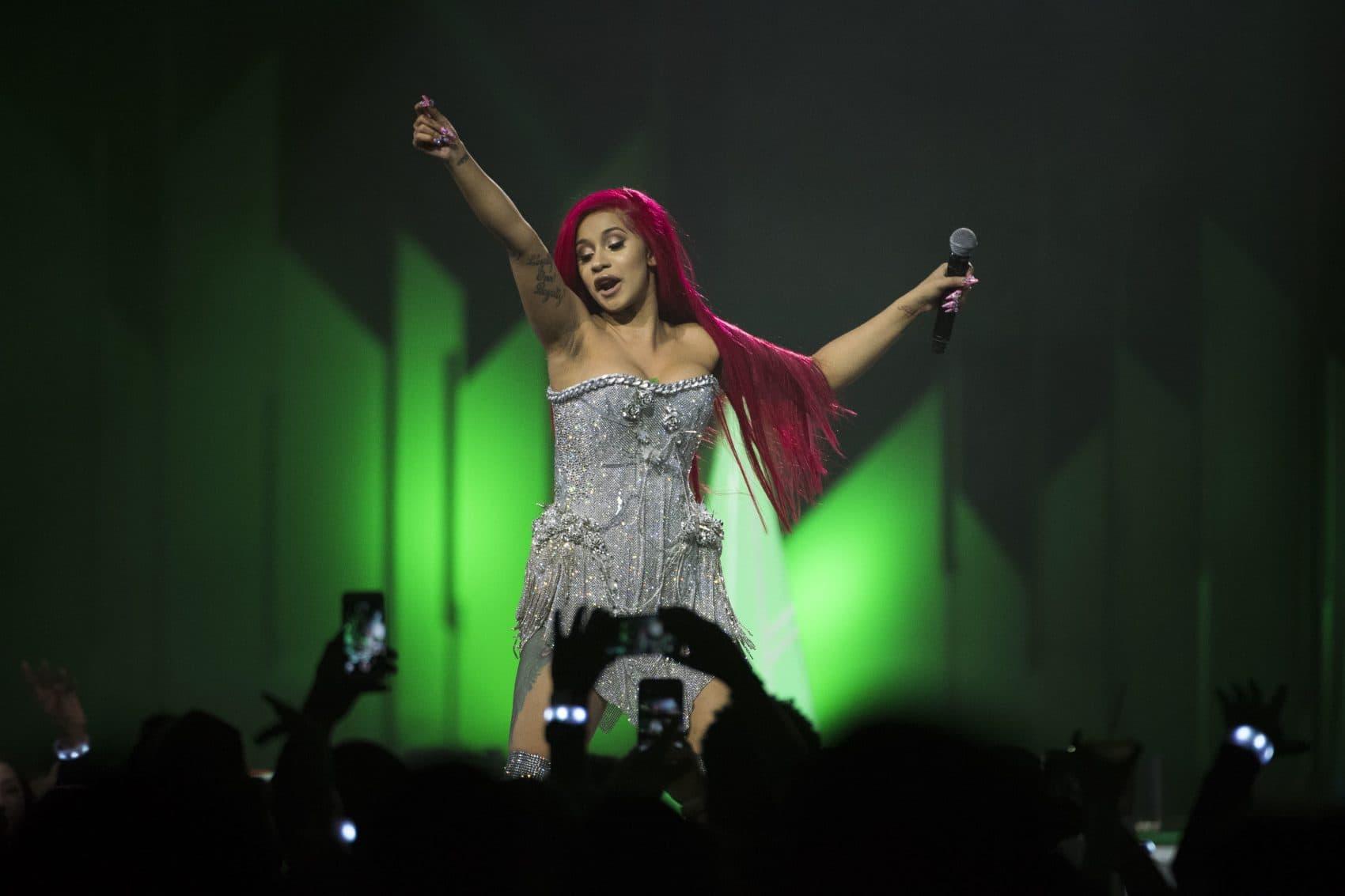 Cardi B performs on stage Dec. 9, 2017. (Arthur Mola/Invision/AP)