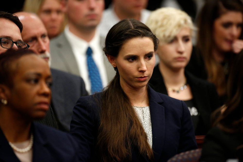 Rachael Denhollander, who was victimized by former Michigan State University and USA Gymnastics doctor Larry Nassar, listens during the sentencing phase in Ingham County Circuit Court on Jan. 24, 2018 in Lansing, Mich. (Jeff Kowalsky/AFP/Getty Images)