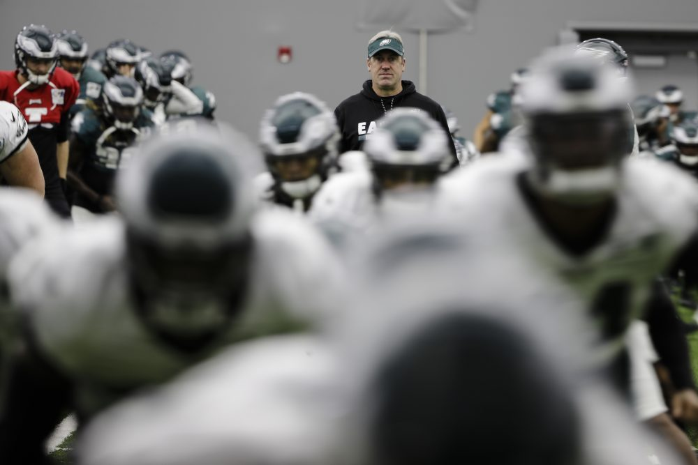 Philadelphia Eagles head coach Doug Pederson views practice at the team's NFL football training facility in Philadelphia, Thursday, Jan. 25, 2018. The Eagles face the New England Patriots in Super Bowl 52 on Sunday, Feb. 4, in Minneapolis. (AP Photo/Matt Rourke)