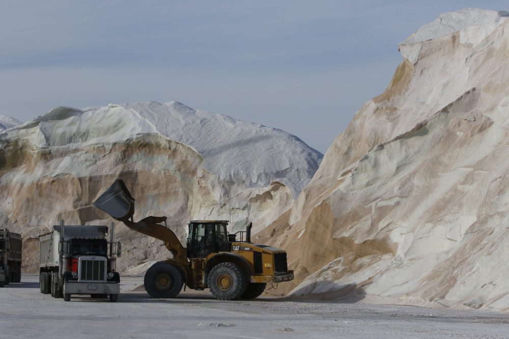 Road salt being loaded into trucks at Eastern Minerals Inc. in Chelsea, Mass. (Bill Sikes/AP)