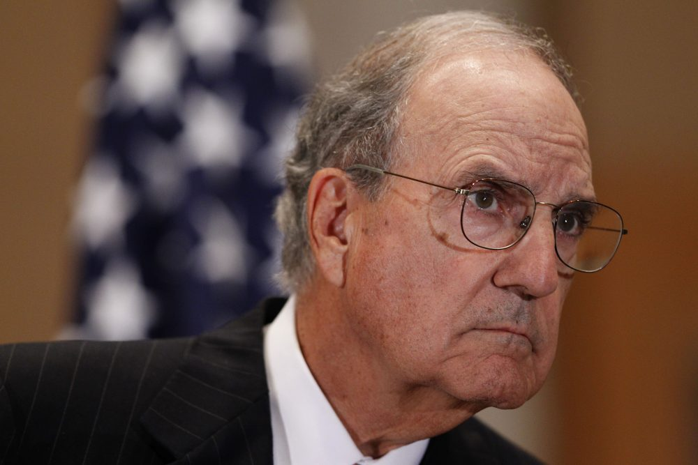 Special Envoy for Middle East Peace former Sen. George Mitchell is seen during a news conference in Jerusalem on Sept. 15, 2010. (Alex Brandon/AFP/Getty Images)