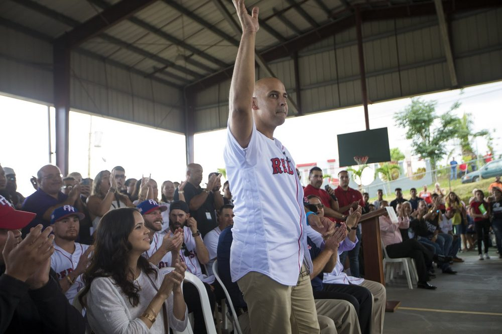 Red Sox manager Alex Cora gets a hometown hero's welcome at La Mesa Sports Complex in Caguas. (Jesse Costa/WBUR)