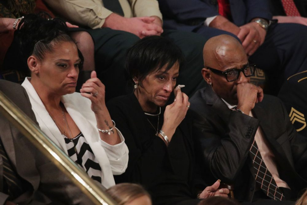 Elizabeth Alvarado, Evelyn Rodriguez and Freddy Cuevas, parents of children who were murdered by MS-13, watch as President Trump delivers the State of the Union address in the chamber of the U.S. House of Representatives, Jan. 30, 2018 in Washington. (Alex Wong/Getty Images)