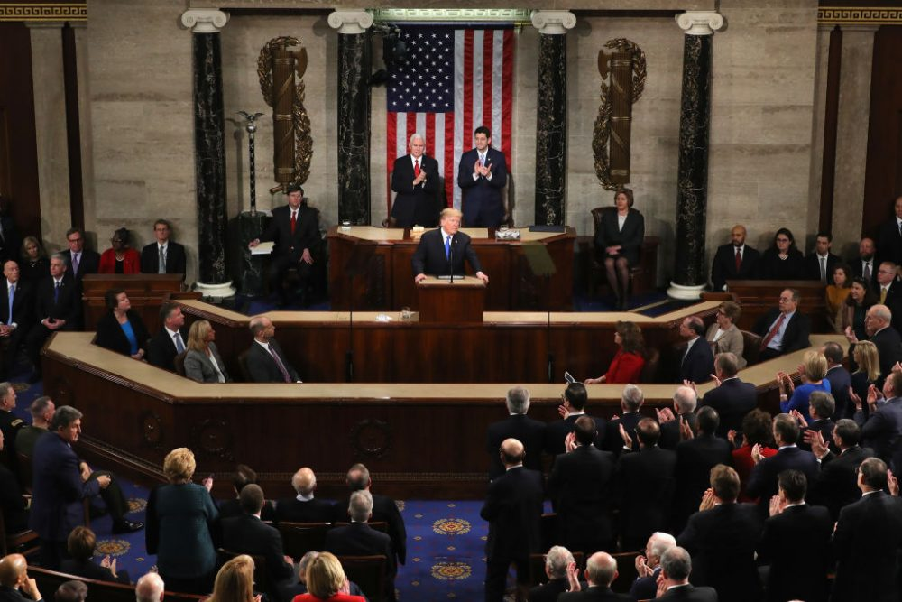 President Trump delivers the State of the Union address in the chamber of the U.S. House of Representatives, Jan. 30, 2018 in Washington. (Chip Somodevilla/Getty Images)