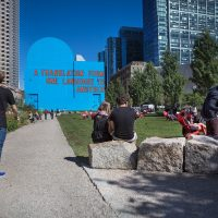Dewey Square, on Boston's Greenway, is often known by its murals -- like here in 2015. (Jesse Costa/WBUR)