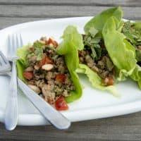 Chef Kathy Gunst's ground pork wrapped in lettuce leaves. (Robin Lubbock/WBUR)