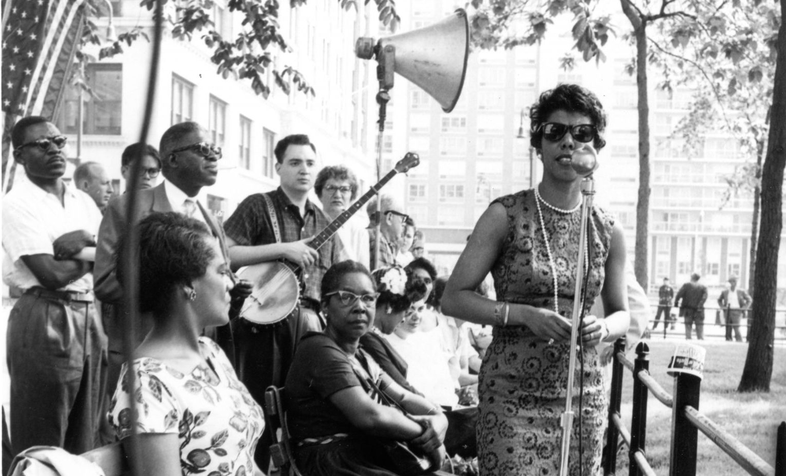 Lorraine Hansberry speaks at an NAACP rally in June 1959. (Courtesy Gin Briggs/Lorraine Hansberry Properties Trust)