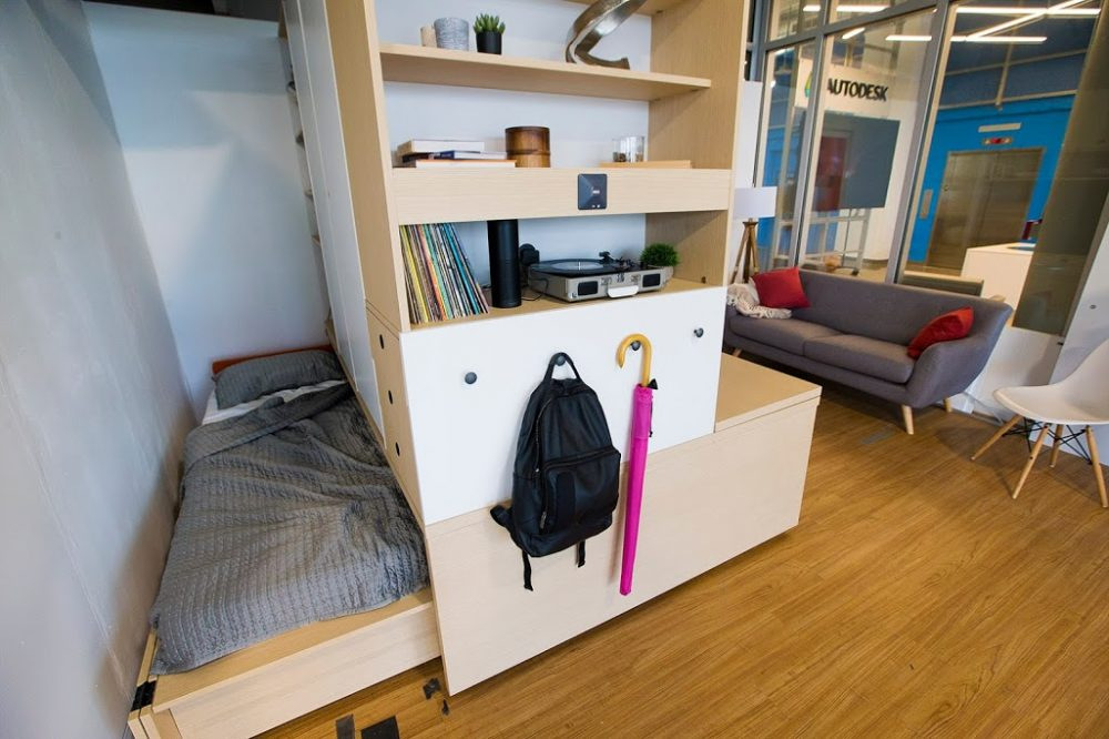 At the touch of a button or a spoken word, Ori transforms spaces to suit different activities. (Jesse Costa/WBUR)