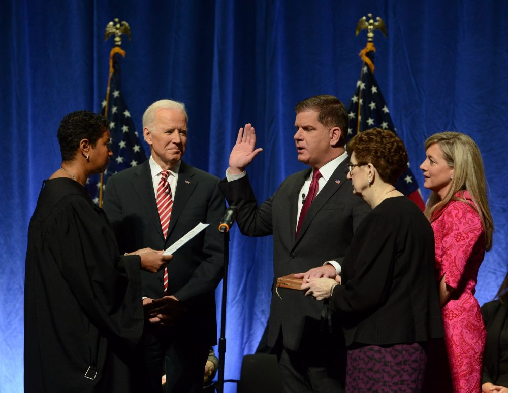 Boston Mayor Marty Walsh takes the oath for his second term. (City of Boston)