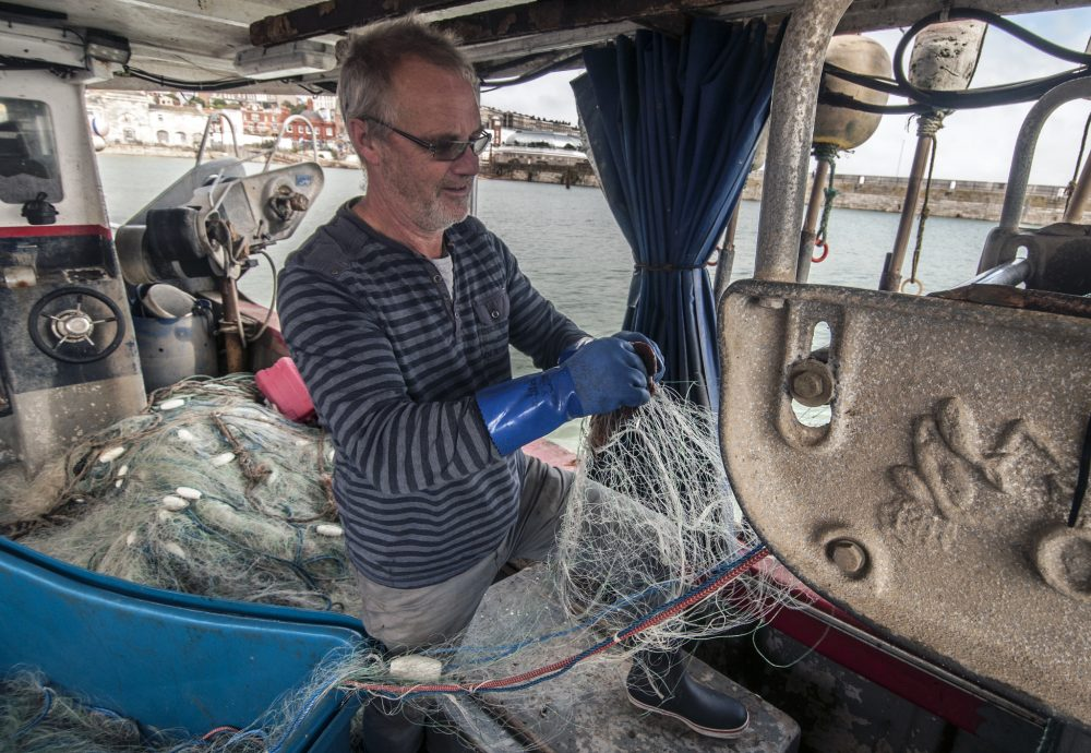 Fisherman Steve Barratt is aboard his boat Razorbill in the Ramsgate harbor. (Chris Bentley for WBUR)