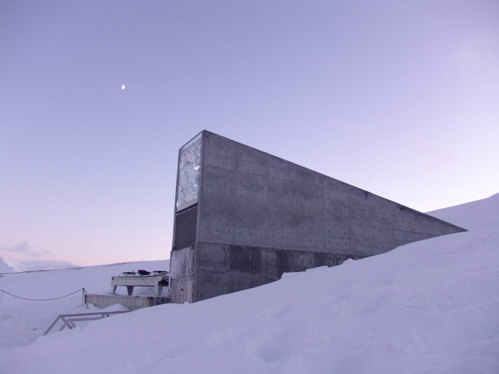Seed vault entrance as seen at dusk.  (Mari Tefre/Global Crop Diversity Trust)