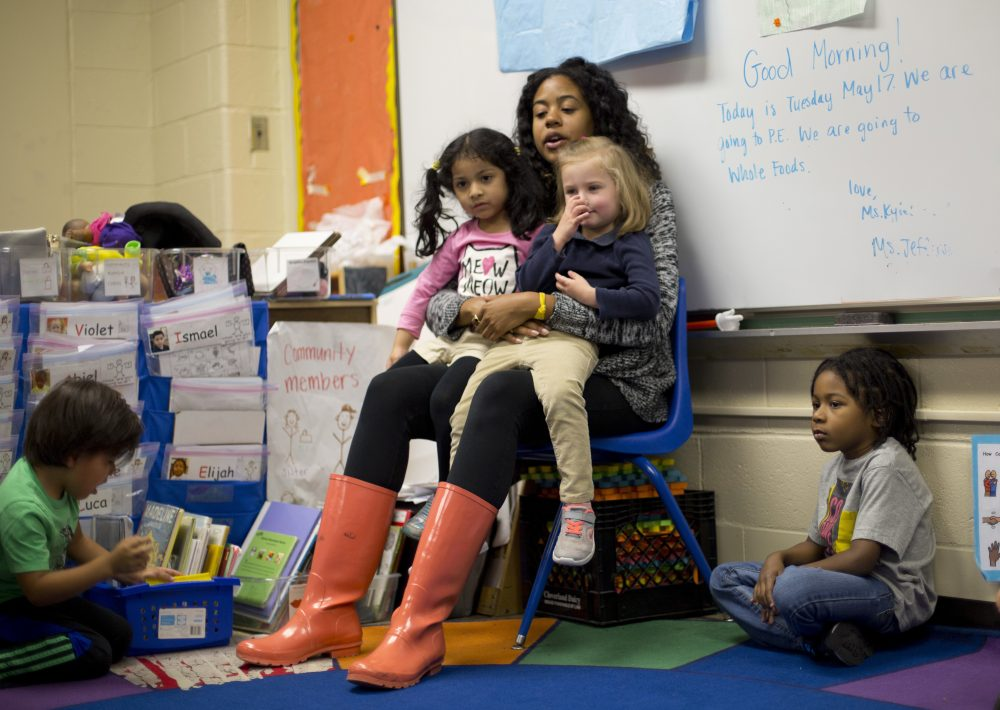 Pre-K teacher Epernay Kyles talks about the day's class activities with her students at Garrison Elementary in the Logan Circle neighborhood of Washington, Tuesday, May 17, 2016.  (Pablo Martinez Monsivais/AP)