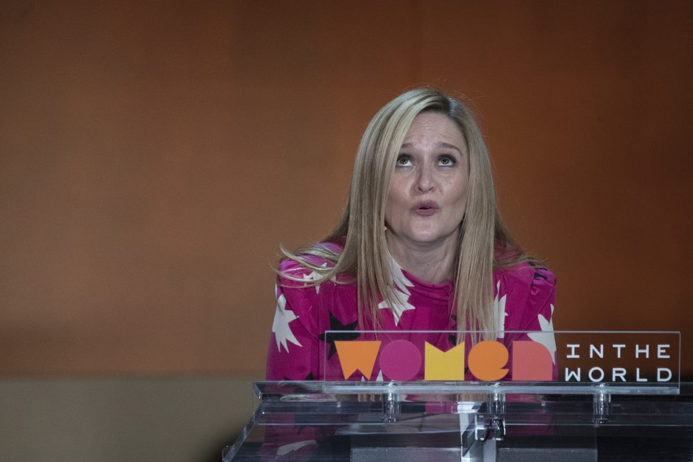 Television personality Samantha Bee speaks during the Women in the World Summit at Lincoln Center in New York, Thursday, April 6, 2017. (Mary Altaffer/AP)