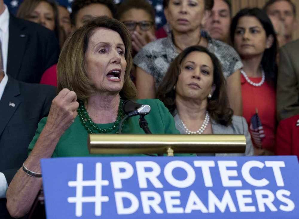 House Minority Leader Nancy Pelosi of Calif. stands with other Democratic lawmakers at a Capitol Hill press conference calling for Congressional Republicans to stand up to President Trump's decision to terminate the Deferred Action for Childhood Arrivals (DACA) program, Wednesday, Sept. 6, 2017. (Jose Luis Magana/AP)
