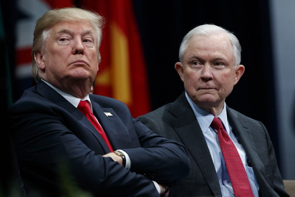 President Donald Trump sits with Attorney General Jeff Sessions during the FBI National Academy graduation ceremony, Friday, Dec. 15, 2017, in Quantico, Va. (Evan Vucci/AP)