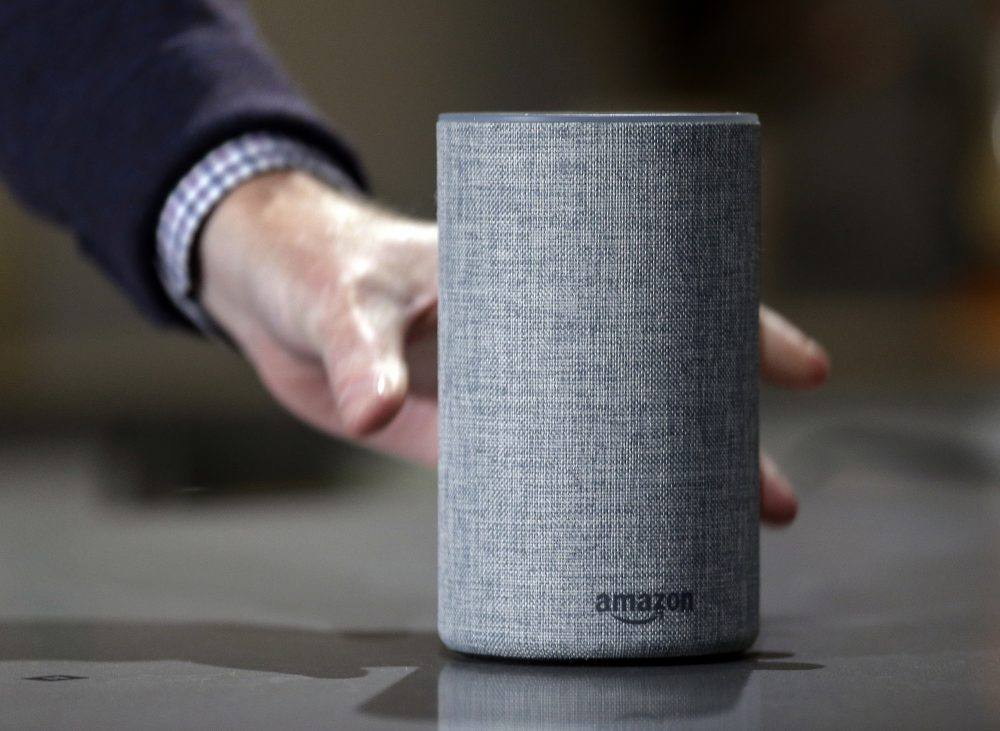 In this Wednesday, Sept. 27, 2017, file photo, a new Amazon Echo is displayed during a program announcing several new Amazon products by the company, in Seattle. (Elaine Thompson/AP)