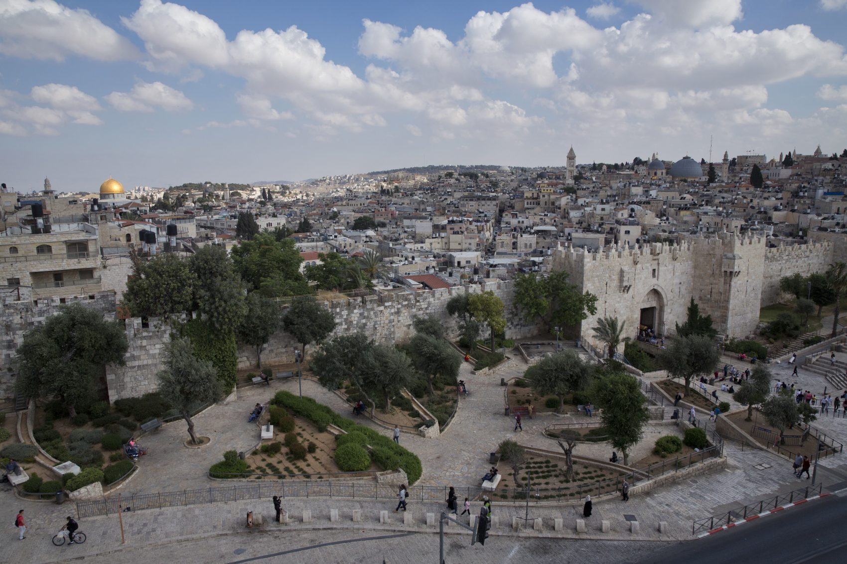 In this Saturday, May 20, 2017 photo, a view of Jerusalem Old City and Damascus Gate, Saturday, May. 20, 2017. (Oded Balilty/AP)