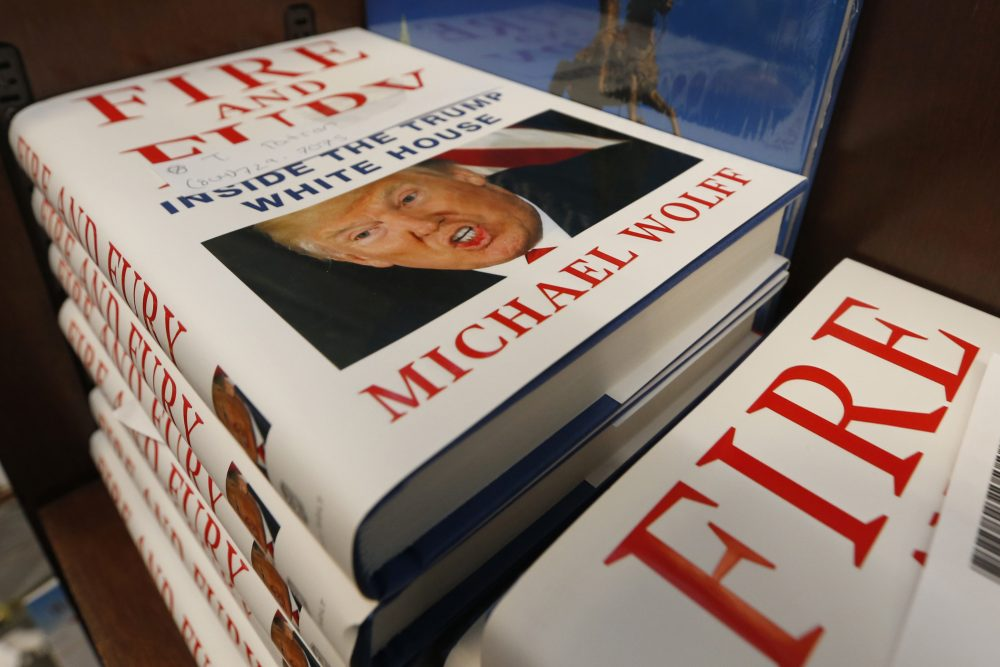 "A stack of reserved ""Fire and Fury"" books by writer Michael Wolff sit on a shelf in a bookstore in Richmond, Va., Friday, Jan. 5, 2018. The new book on President Donald Trump is drawn from what he said was regular access to the West Wing and more than 200 interviews, including some three hours with Trump himself. (Steve Helber/AP)"