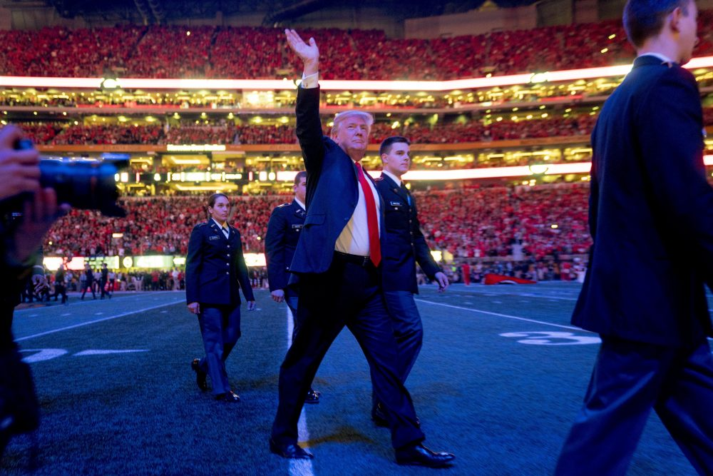 President Donald Trump walks off the field following the national anthem before the start of the NCAA National Championship game at Mercedes-Benz Stadium, Monday, Jan. 8, 2018, in Atlanta, between Alabama and Georgia. (Andrew Harnik/AP)