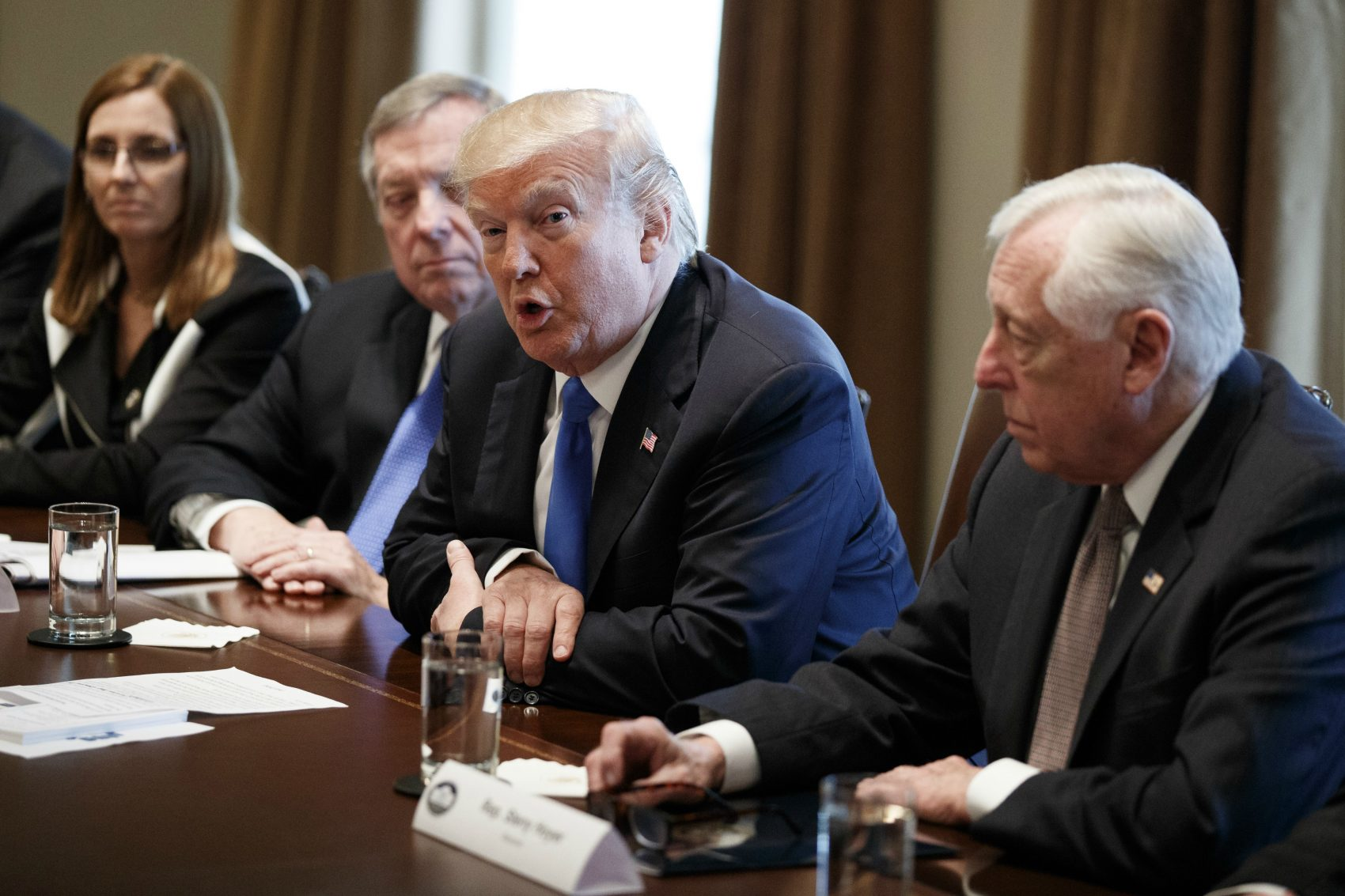 President Donald Trump speaks during a meeting with lawmakers on immigration policy in the Cabinet Room of the White House, Tuesday, Jan. 9, 2018, in Washington.  (Evan Vucci/AP)