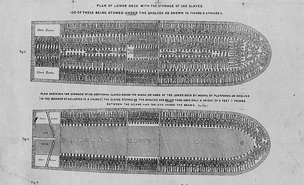 """This is an undated photo of an etching depicting the claustrophobic living conditions aboard slave ships.  This etching set guidelines to slavers that say """"Stowage of the British Slave Ship 'Brooks' Under the Regulated Slave Trade Act of 1788.""""  (AP Photo)"""