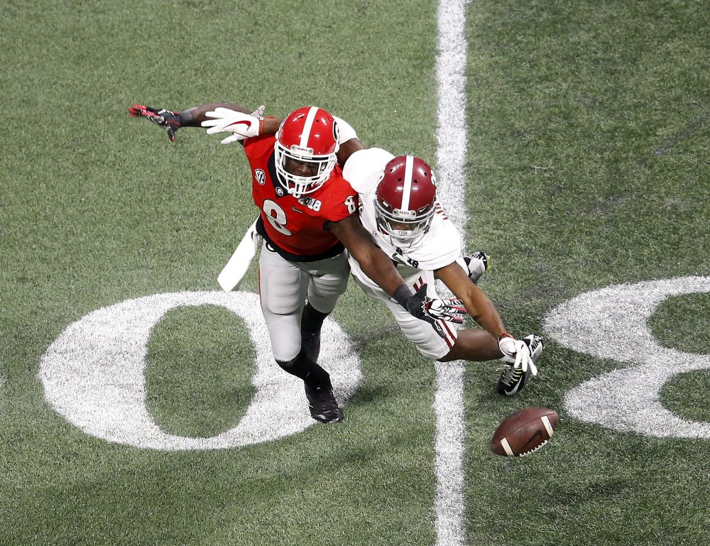 Cornerback Levi Wallace of Alabama breaks up a pass thrown to wide receiver Riley Ridley of Georgia during the College Football Playoff National Championship game on Monday.  (Mike Zarrilli/Getty Images)