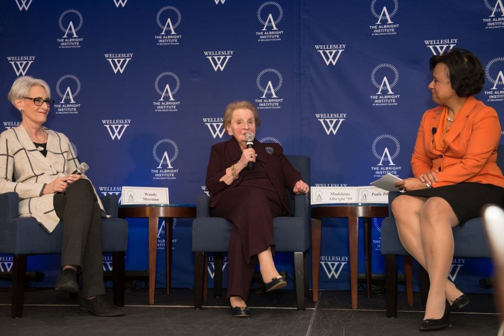 Former U.S. Sec. of State, Madeleine Albright, and former U.S. Under Secretary of State for Political Affairs, Wendy Sherman, speaking with Wellesley President Paula Johnson at Wellesley College on January 24, 2017. (Courtesy Wellesley College)