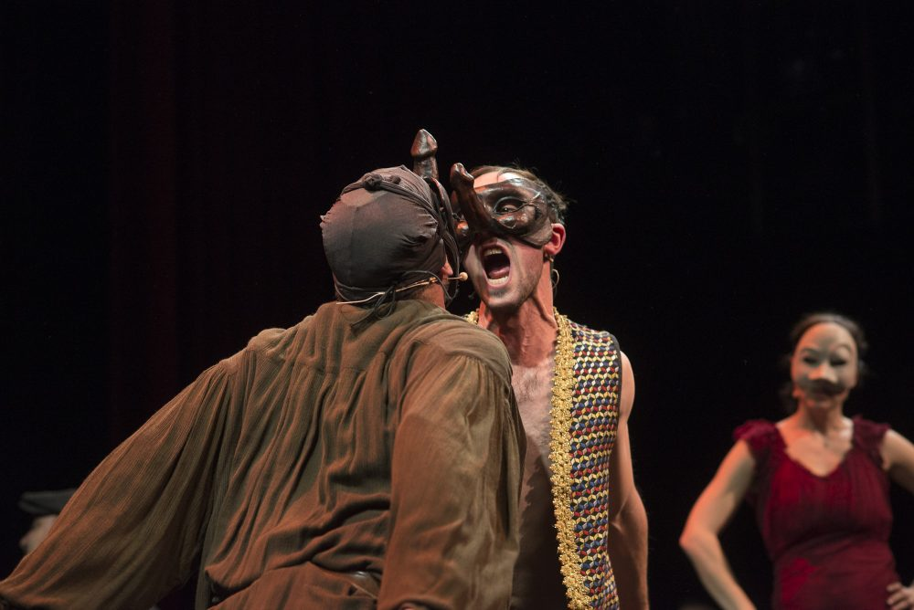 Actor Jesse Garlick performs with LAB while donning a mask. (Courtesy Liars & Believers)