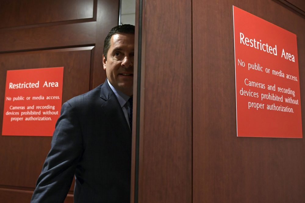 House Intelligence Committee Chairman Rep. Devin Nunes, R-Calif., enters the House Intelligence Committee area on Capitol Hill in Washington, Tuesday, Jan. 16, 2018, where former White House strategist Stephen Bannon is being interviewed. (AP Photo/Susan Walsh)
