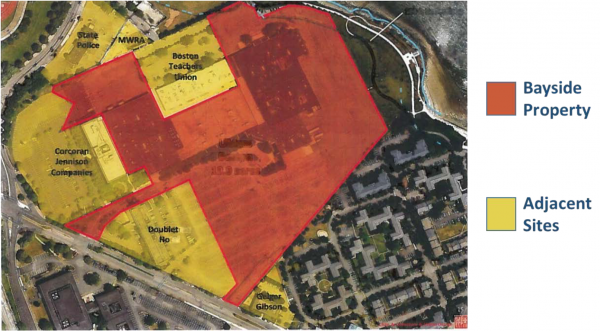The 20-acre parcel in relation to other Columbia Point sites (Courtesy of the UMass Building Authority)