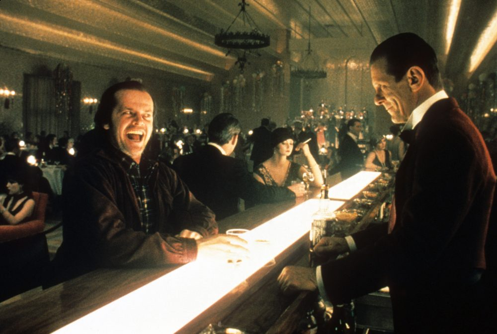 Jack Nicholson as Jack Torrance and Joe Turkel as Lloyd, the Overlook bartender. (Courtesy Coolidge Corner Theatre)