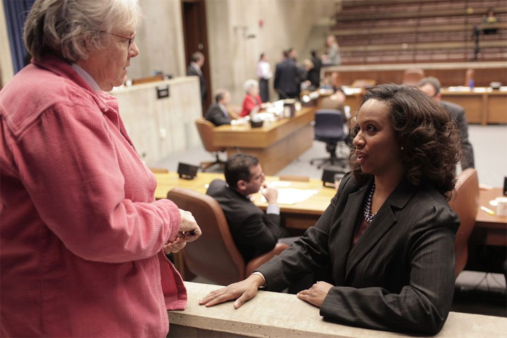 Ayanna Pressley, right, in a 2011 file photo (Nick Dynan for WBUR)