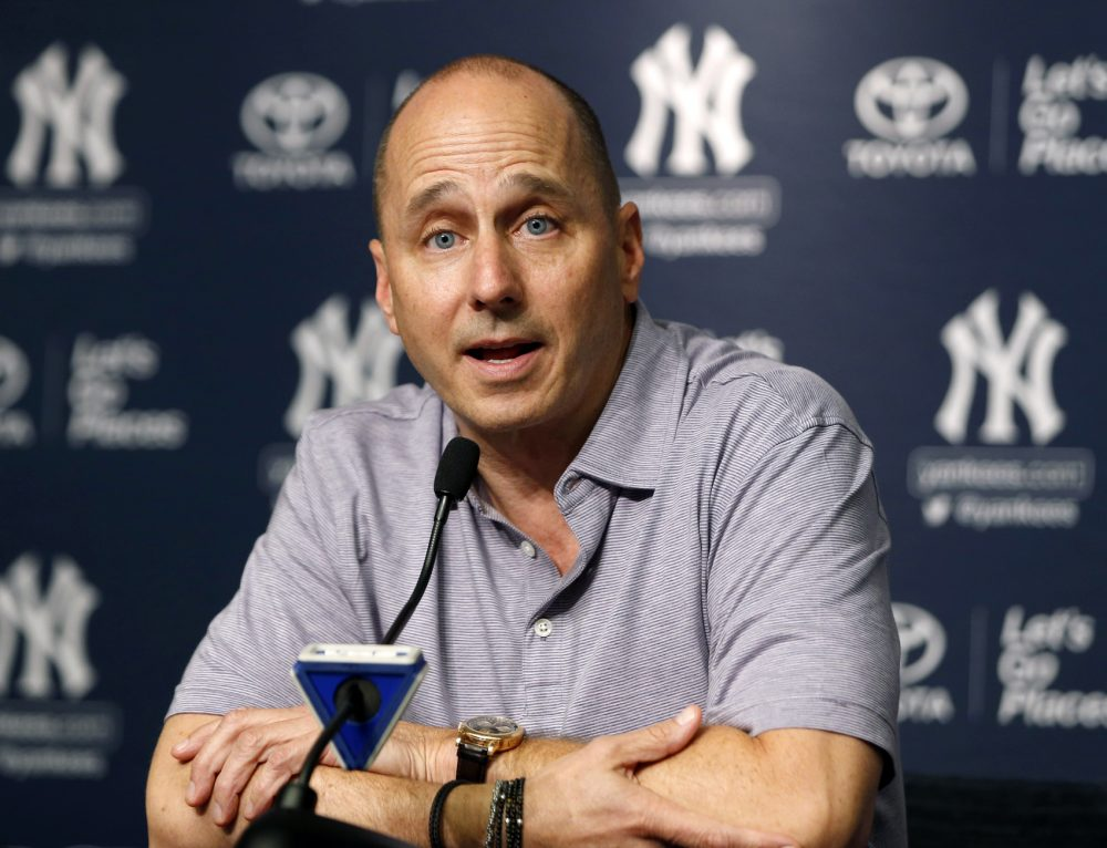 New York Yankees general manager Brian Cashman speaks during a news conference in which he addressed the team's trades and acquisitions in New York, Monday, July 31, 2017. (AP Photo/Kathy Willens)
