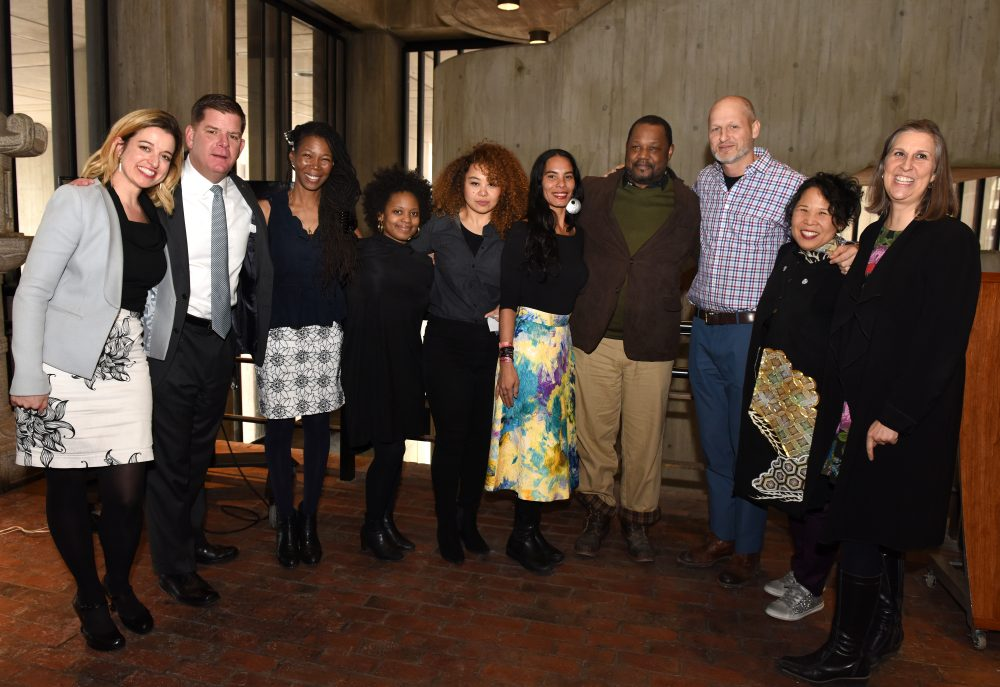 The artists selected for 2018's Boston AIR program, with Boston Mayor Marty Walsh and Chief of Arts and Culture Julie Burros. (Courtesy City of Boston)