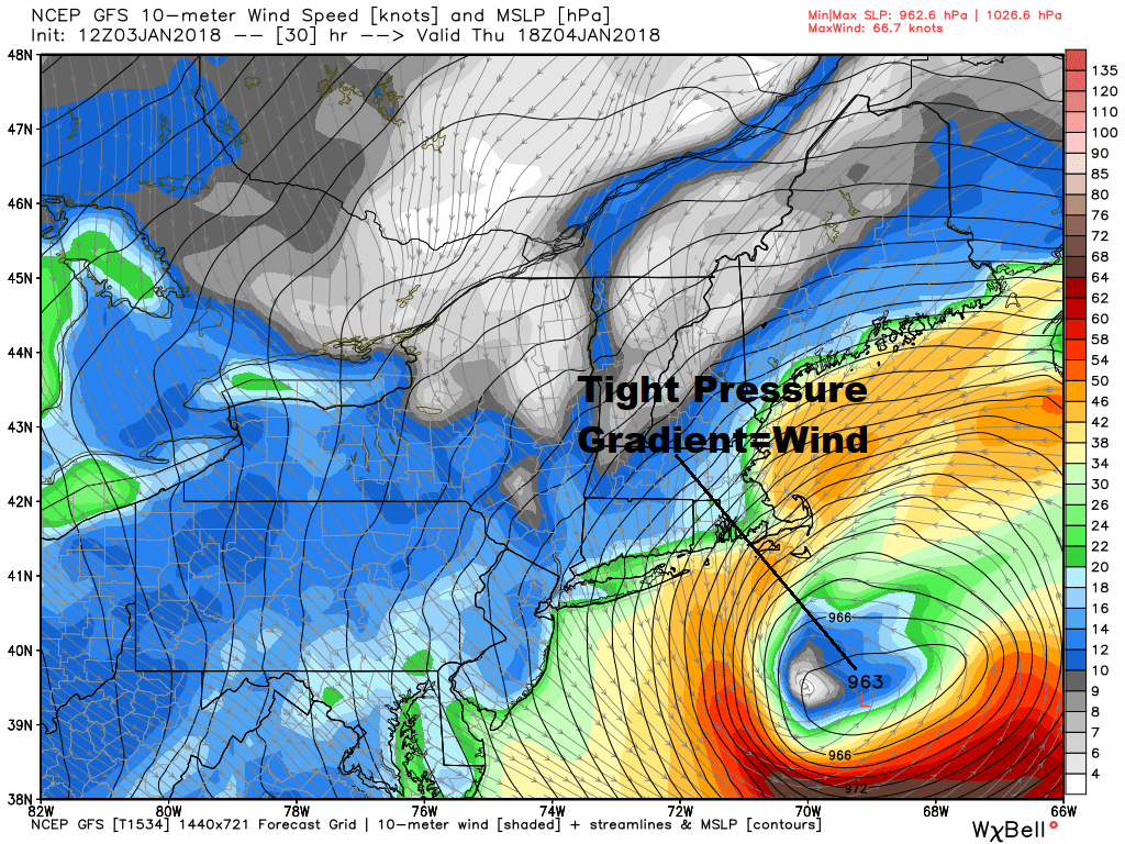A strong pressure gradient coming with this storm will bring a lot of wind. (Dave Epstein/WBUR)