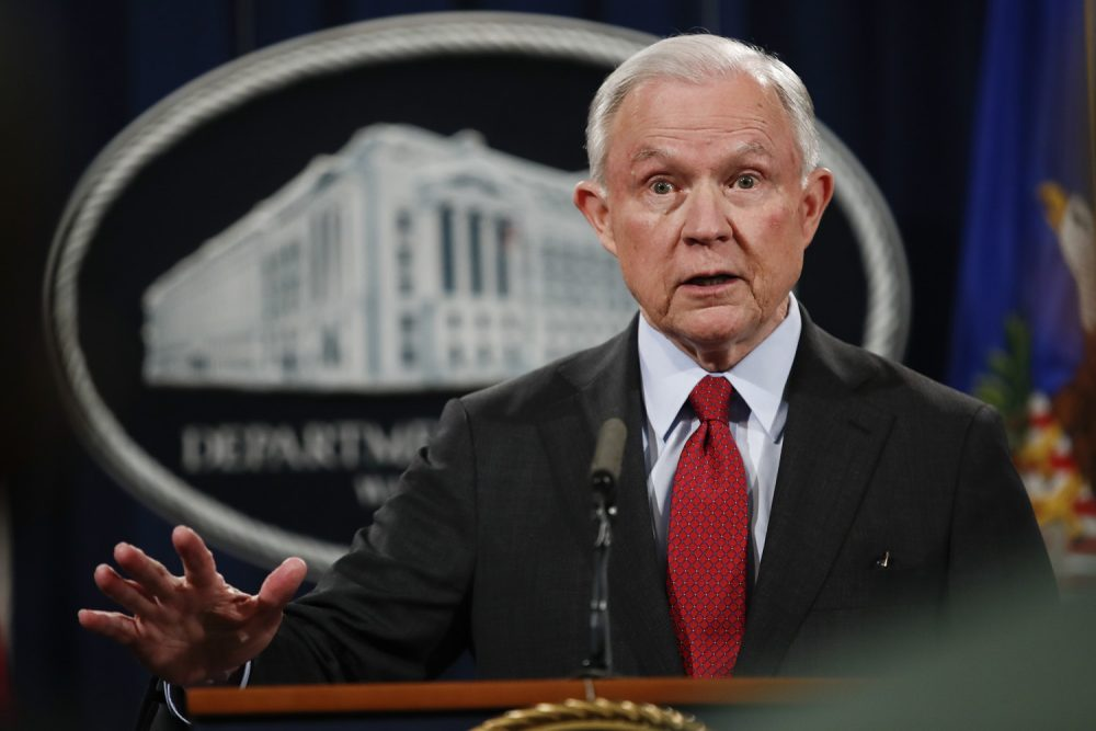 FILE - In this Dec. 15, 2017 file photo, Attorney General Jeff Sessions speaks during a news conference at the Justice Department in Washington.  Sessions on Friday launched a review of a little-known but widely used practice of immigration judges closing cases without decisions, potentially reshaping immigration courts and putting hundreds of thousands of people in greater legal limbo.  (AP Photo/Carolyn Kaster)