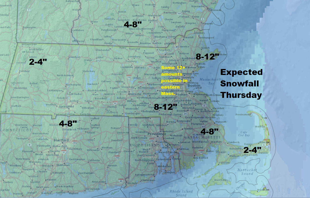 The latest snowfall totals expected for Thursday. Heavy snow is forecast for Boston. (Dave Epstein/WBUR)