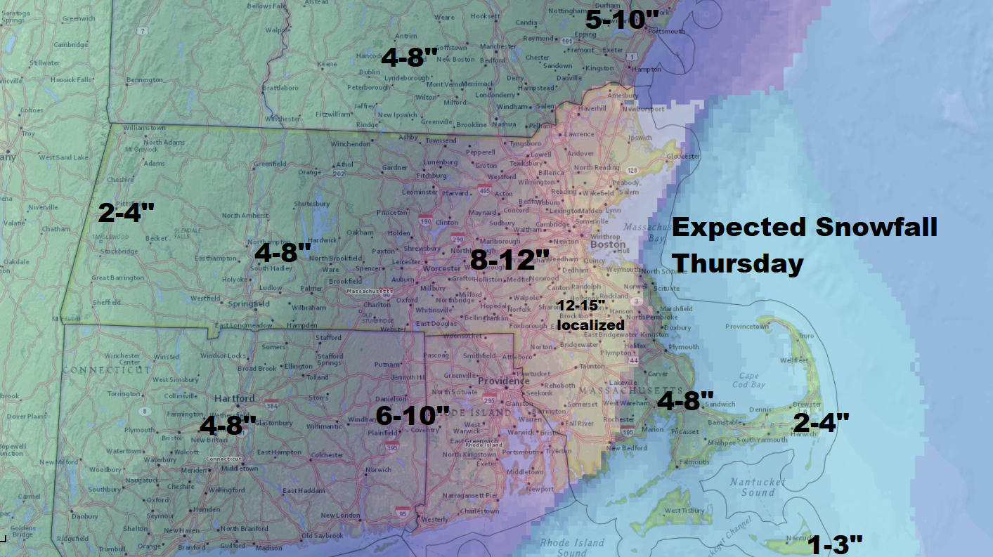 Snow will be heaviest in eastern Massachusetts on Thursday. (Dave Epstein/WBUR)