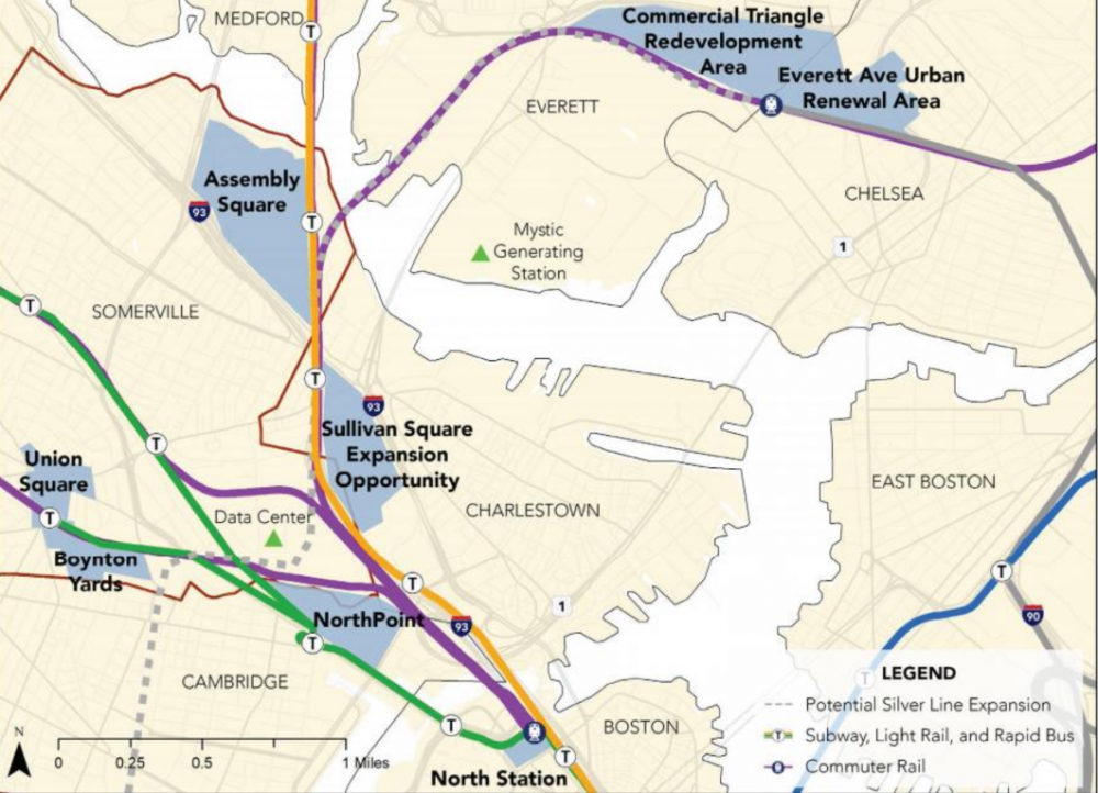 A screenshot from Somerville's bid shows its proposed sites. (Courtesy city of Somerville)