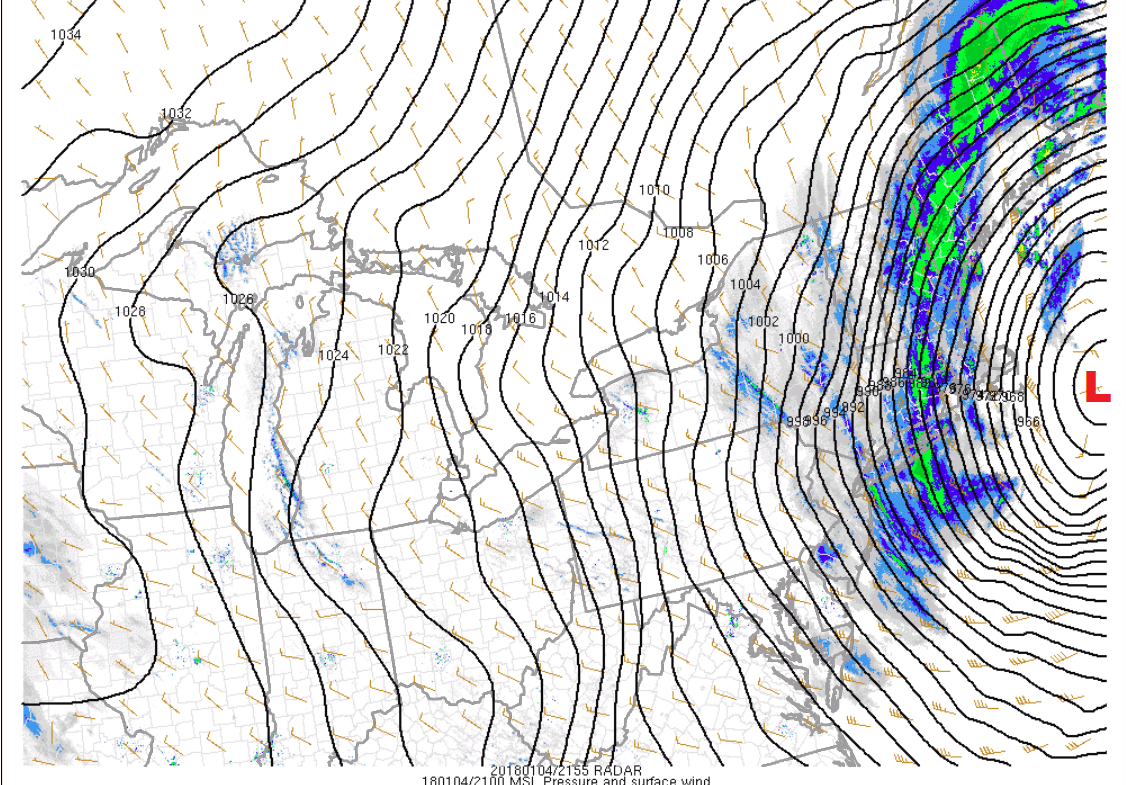 The tightly packed isobars, black lines, indicate strong winds around this storm. (Courtesy NOAA)