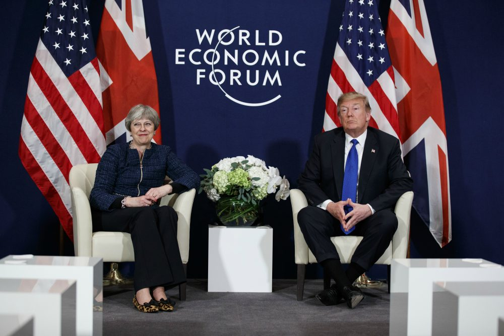 President Donald Trump meets with British Prime Minister Theresa May at the World Economic Forum, Thursday, Jan. 25, 2018, in Davos. (Evan Vucci/AP)