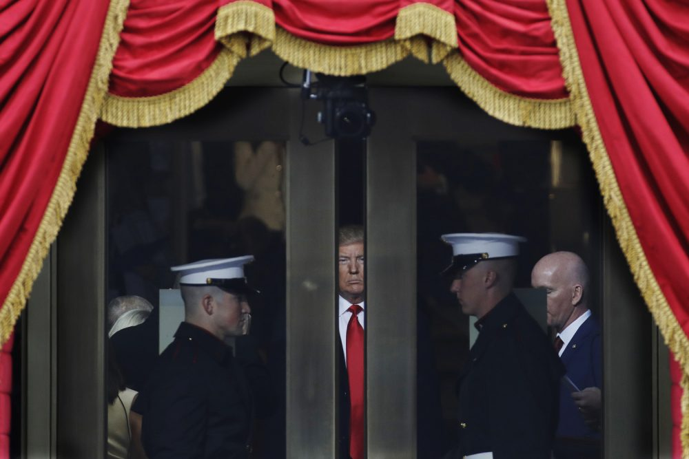 2017 AP YEAR END PHOTOS - President-elect Donald Trump waits to step out onto the portico for his Presidential Inauguration at the U.S. Capitol in Washington, on Jan. 20, 2017. (AP Photo/Patrick Semansky)