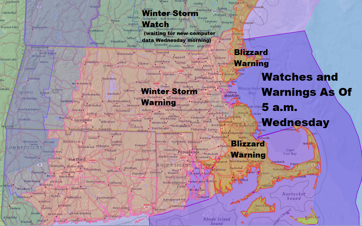 There is a blizzard warning along the coast for Thursday. (Dave Epstein/WBUR)