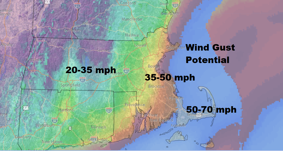 Winds will be strongest along the coast on Thursday, but still significant inland. (Dave Epstein/WBUR)