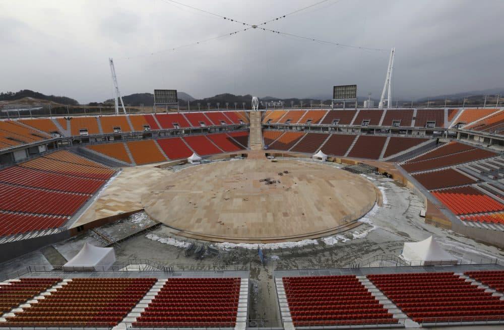 The Pyeongchang Olympic Stadium under construction in Pyeongchang, South Korea, Saturday, Nov. 25, 2017. (Ahn Young-joon/AP)