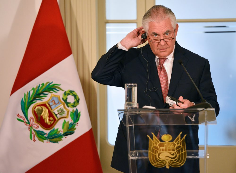 Secretary of State Rex Tillerson gestures at a joint press conference with Peru's Foreign Minister Cayetana Aljovin (out of frame) at the Peruvian Foreign Ministry in Lima on Feb. 5, 2018, the fifth day of a five-nation tour of Latin America and Jamaica. (Cris Bouroncle/AFP/Getty Images)